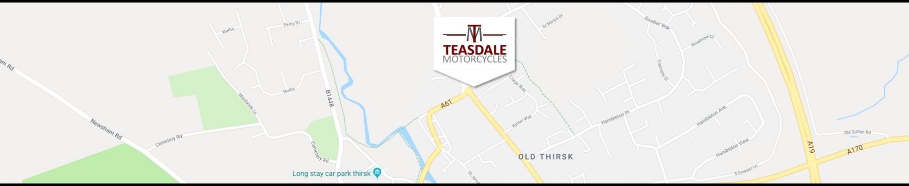 Google Maps Centred on Teasdale Motorcycles