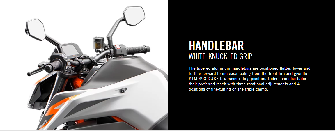 KTM 890 DUKE R HANDLEBARS AND MIRRORS