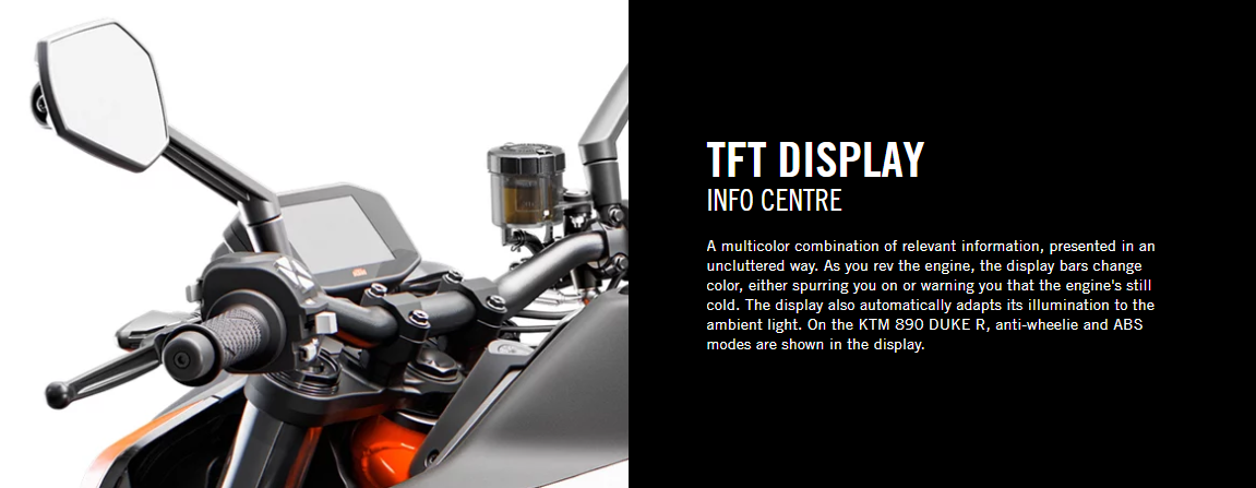 TFT DISPLAY FOR KTM 890 DUKE R