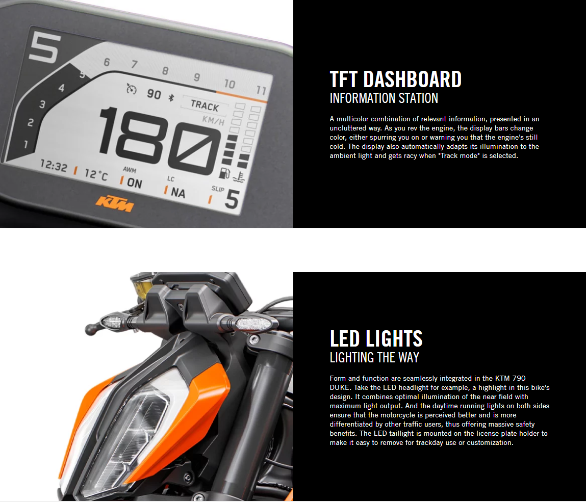 2020 KTM 790 Duke Engine Lights and Dashboard