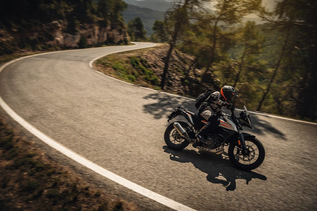 KTM 390 Adventure riding on mountain road